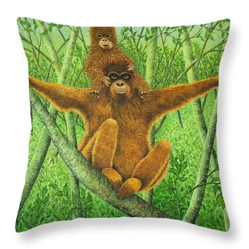 Hnag On In There Throw Pillow by Pat Scott