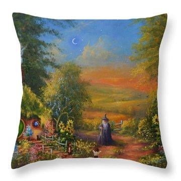 Hobbiton, Disturbing The Peace  Throw Pillow by Joe  Gilronan