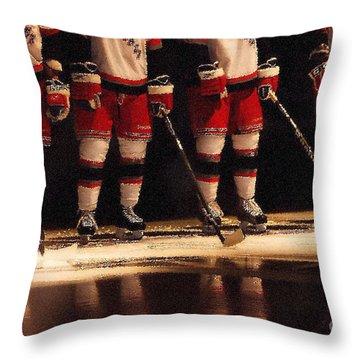 Hockey Reflection Throw Pillow by Karol Livote
