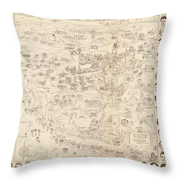 Hollywood Map To The Stars 1937 Throw Pillow by Don Boggs