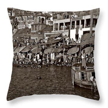 Holy Ganges Monochrome Throw Pillow by Steve Harrington