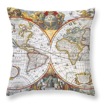 Hondius World Map, 1630 Throw Pillow by Photo Researchers