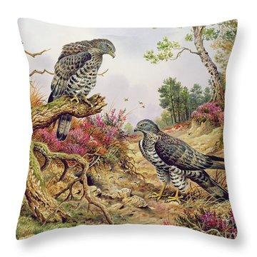 Honey Buzzards Throw Pillow by Carl Donner