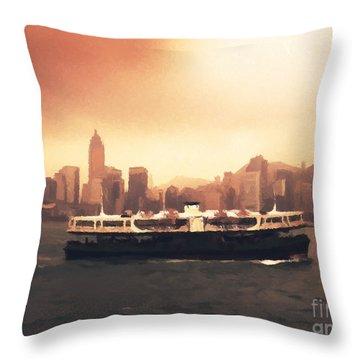 Hong Kong Harbour 01 Throw Pillow by Pixel  Chimp