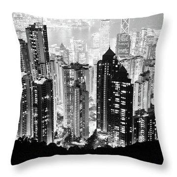 Hong Kong Nightscape Throw Pillow by Joseph Westrupp