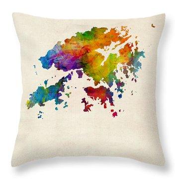 Hong Kong Watercolor Map Throw Pillow by Michael Tompsett