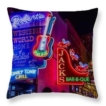 Honky Tonk Broadway Throw Pillow by Stephen Stookey