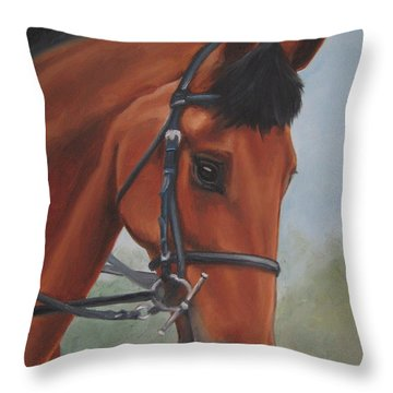 Horse Portrait Throw Pillow by Jindra Noewi