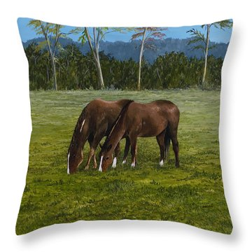 Horses Of Romance Throw Pillow by Mary Ann King