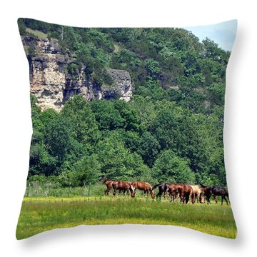 Horses On The Rubideaux Throw Pillow by Marty Koch