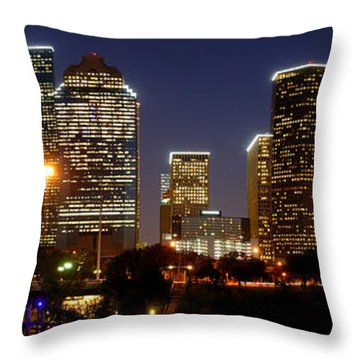 Houston Skyline At Night Throw Pillow by Jon Holiday