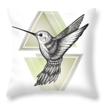 Hummingbird Throw Pillow by Barlena