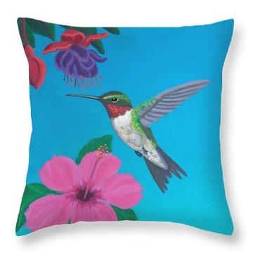 Hummingbird Heaven Throw Pillow by Frank Strasser