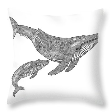 Humpback And Calf Throw Pillow by Carol Lynne