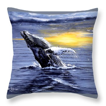 Humpback Whale Breaching Throw Pillow by Bob Patterson