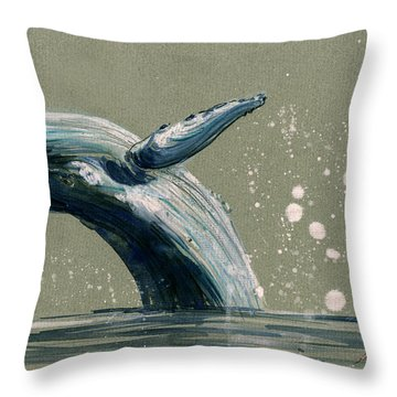 Humpback Whale Swimming Throw Pillow by Juan  Bosco