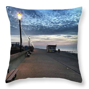Hunstanton At 5pm Today  #sea #beach Throw Pillow by John Edwards