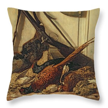Hunting Trophies Throw Pillow by Claude Monet
