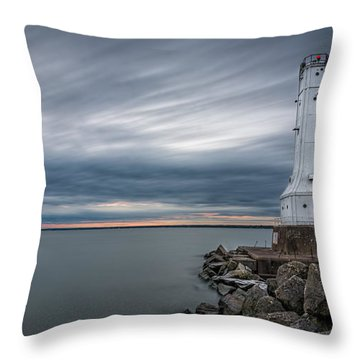 Huron Harbor Lighthouse Throw Pillow by James Dean