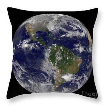 Hurricane Sandy Along The East Coast Throw Pillow by Stocktrek Images
