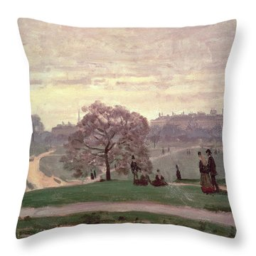 Hyde Park Throw Pillow by Claude Monet