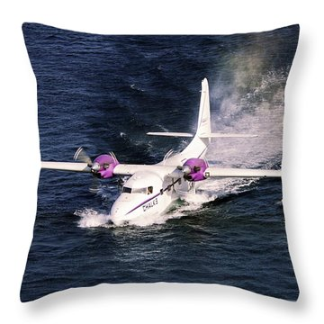 Hydroplane Splashdown Throw Pillow by Sally Weigand