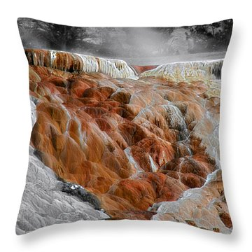 Hymen Terrace Mammoth Hot Springs Yellowstone Park Wy Throw Pillow by Christine Till