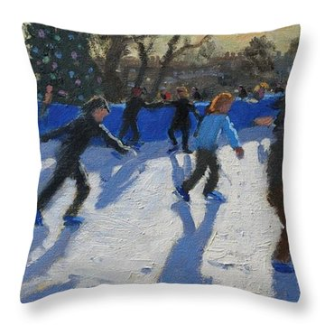 Ice Skaters At Christmas Fayre In Hyde Park  London Throw Pillow by Andrew Macara