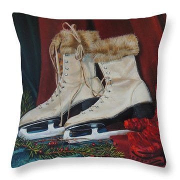 Ice Skates And Mittens Throw Pillow by Patty Kay Hall