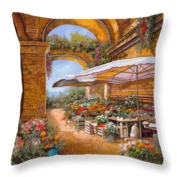 Il Mercato Sotto I Portici Throw Pillow by Guido Borelli