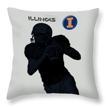 Illinois Football Throw Pillow by David Dehner