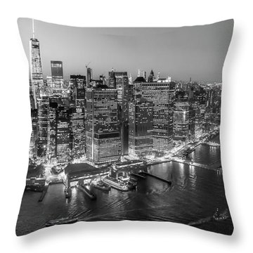Illuminated Lower Manhattan Nyc Bw Throw Pillow by Susan Candelario