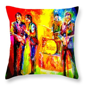 Impressionistc Beatles  Throw Pillow by Leland Castro