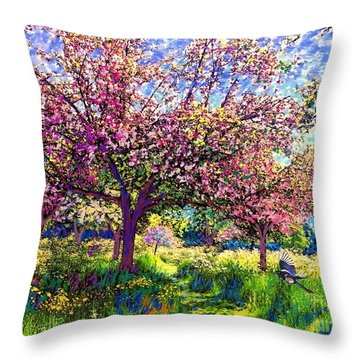 In Love With Spring, Blossom Trees Throw Pillow by Jane Small