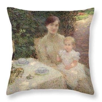In The Garden Throw Pillow by Ernest Joseph Laurent