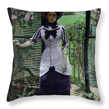 In The Greenhouse Throw Pillow by Albert Bartholome