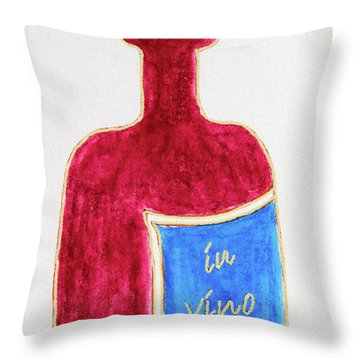 Throw Pillow featuring the drawing In Vino Very Tas by Frank Tschakert
