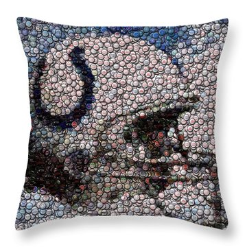 Indianapolis Colts Bottle Cap Mosaic Throw Pillow by Paul Van Scott