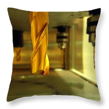 Industrial Drilling Machine Throw Pillow by Yali Shi