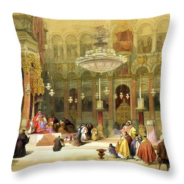 Inside The Church Of The Holy Sepulchre Throw Pillow by Munir Alawi