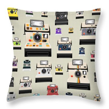 Instant Camera Pattern Throw Pillow by Setsiri Silapasuwanchai
