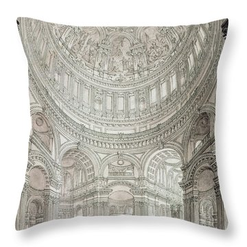 Interior Of Saint Pauls Cathedral Throw Pillow by John Coney
