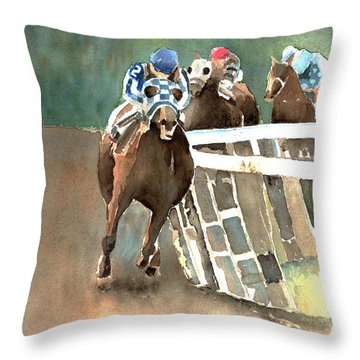 Into The Stretch And Headed For Home-secretariat Throw Pillow by Arline Wagner