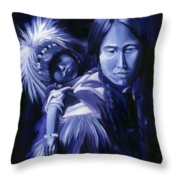 Inuit Mother And Child Throw Pillow by Nancy Griswold
