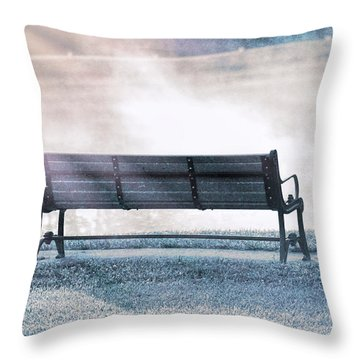 Throw Pillows On Clearance : Inviting Morning Bench Photograph by Dan Sproul
