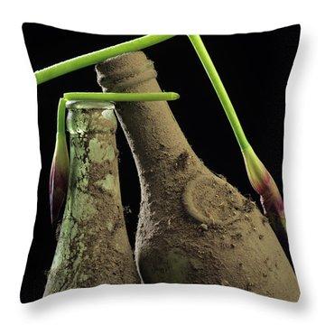 Iris And Old Bottles Throw Pillow by Bernard Jaubert
