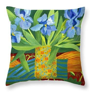 Iris Throw Pillow by Jennifer Abbot