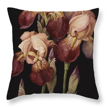 Irises Throw Pillow by Jenny Barron