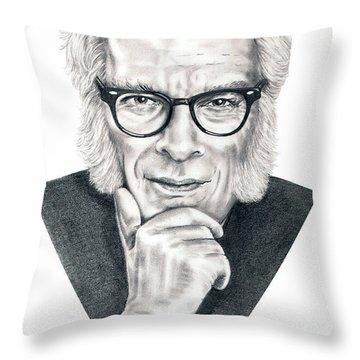 Isaac Asimov Throw Pillow by Murphy Elliott
