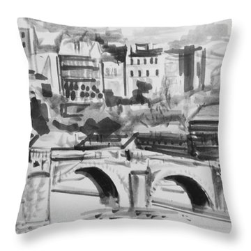 Italian Bridge Throw Pillow by John Keaton